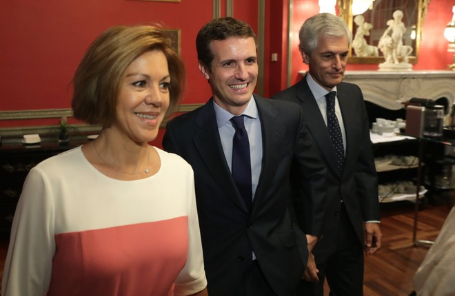 MaríaDolores de Cospedal, Pablo Casado y Alfonso Suarez Illana.