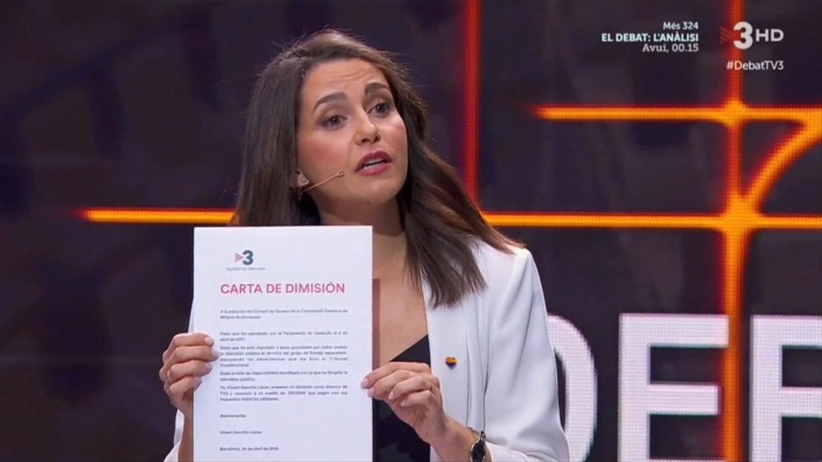 Arrimadas ofrece dimitir a Sanchis (TV-3).