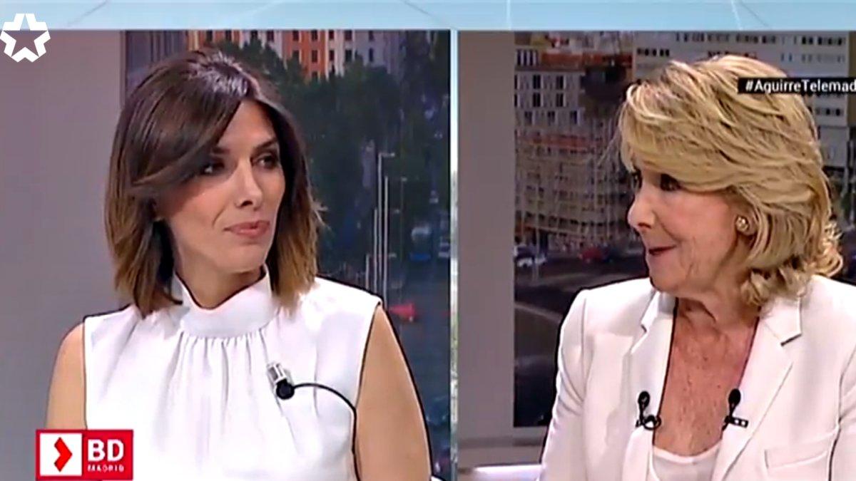 Aguirre noquea a la presentadora de Telemadrid por su
