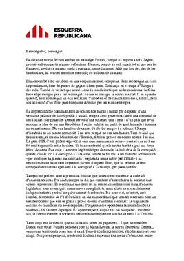 Carta de Oriol Junqueras a la militancia de ERC.