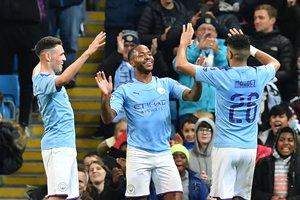 Los jugadores del City celebran un gol ante el Atalanta, en la Champions.