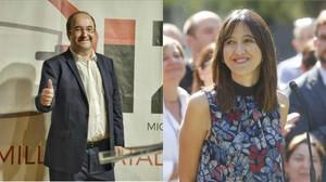 Miquel Iceta, primer secretario del PSC, y Núria Parlon, alcaldesa de Santa Coloma de Gramenet.