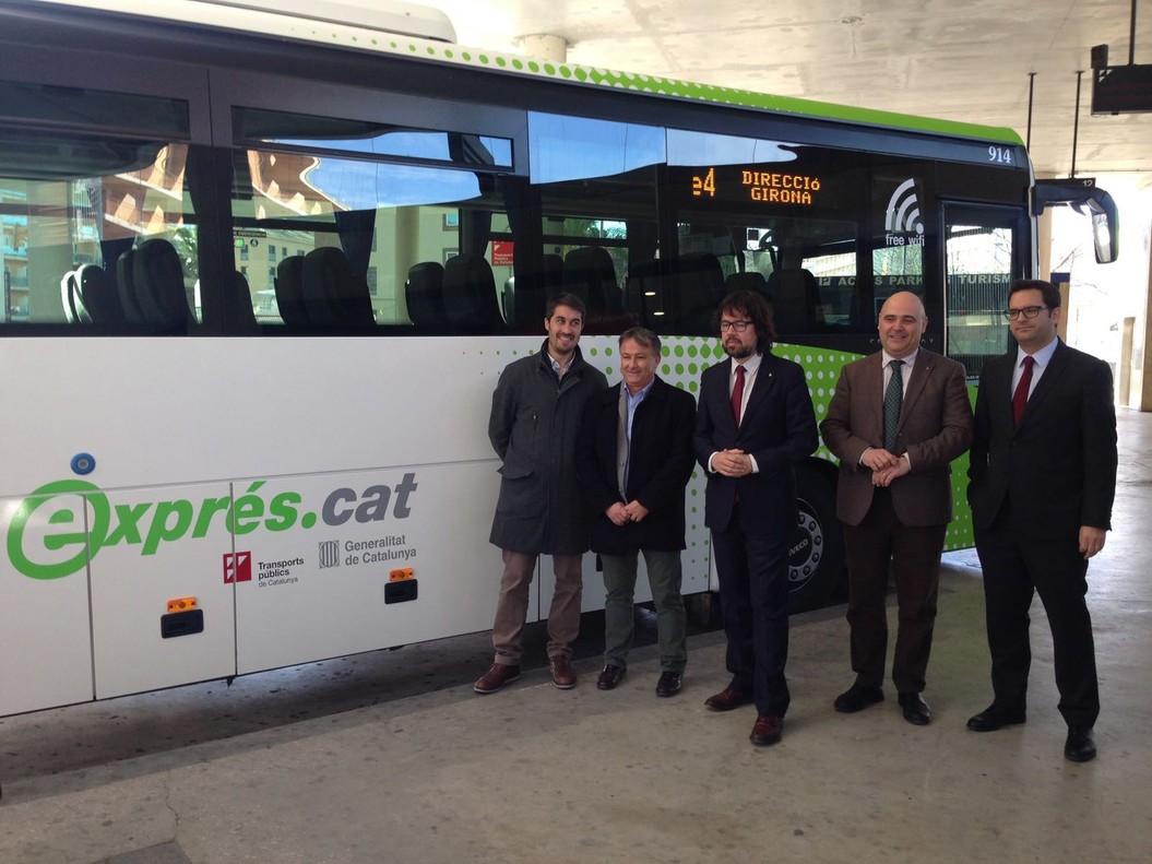 Presentación del nuevo servicio de autobús expres.cat entre Girona, Vidreres y Lloret de Mar.