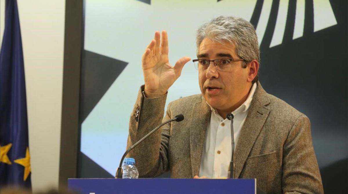 El portavoz del PDECat en el Congreso, Francesc Homs, en la sede del partido en Barcelona.