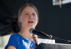 Thunberg interviene en un acto en Los Angeles el pasado 31 de octubre.