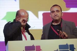 Joan Carles Gallego y su sucesor en CCOO de Catalunya, Javier Pacheco.