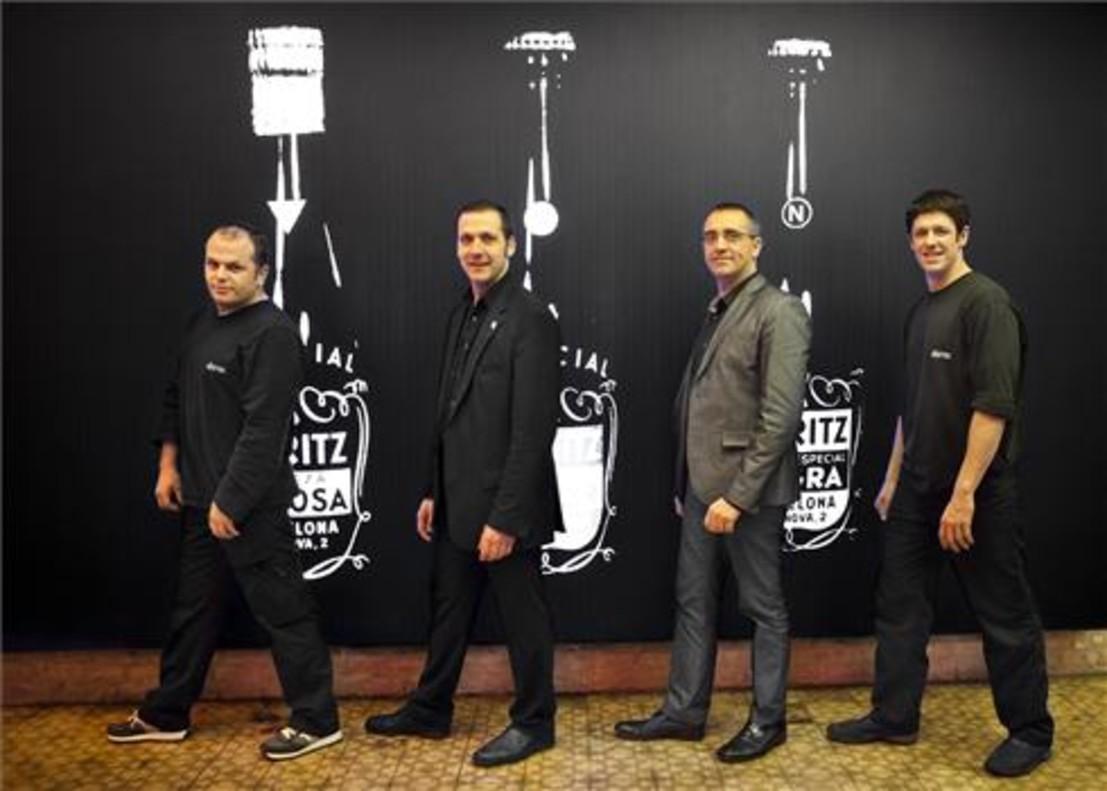 Jordi Vilà, Xavi Ayala, Albert Cano y Ángel Vidaurren, en la Fábrica Moritz. Foto: Martí Fradera