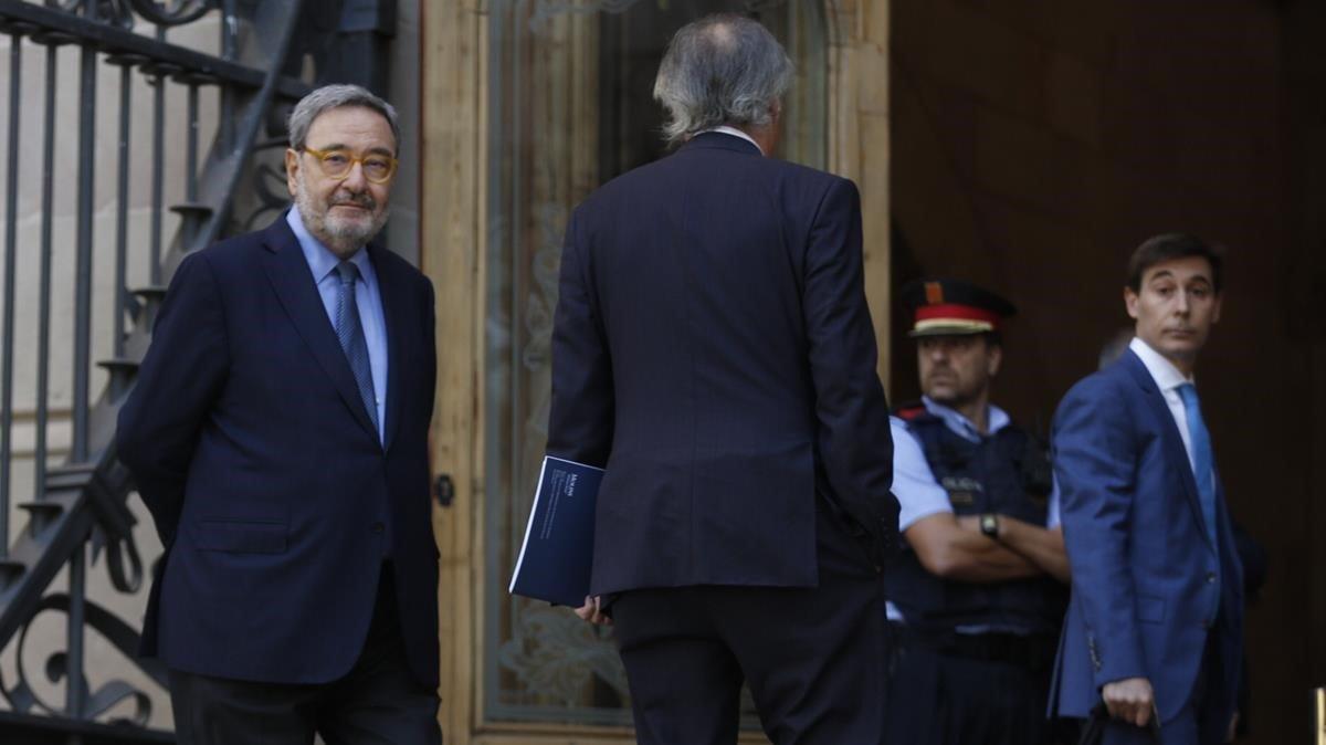 Narcis Serra entrando en la Audiencia de Barcelona, la semana pasada.