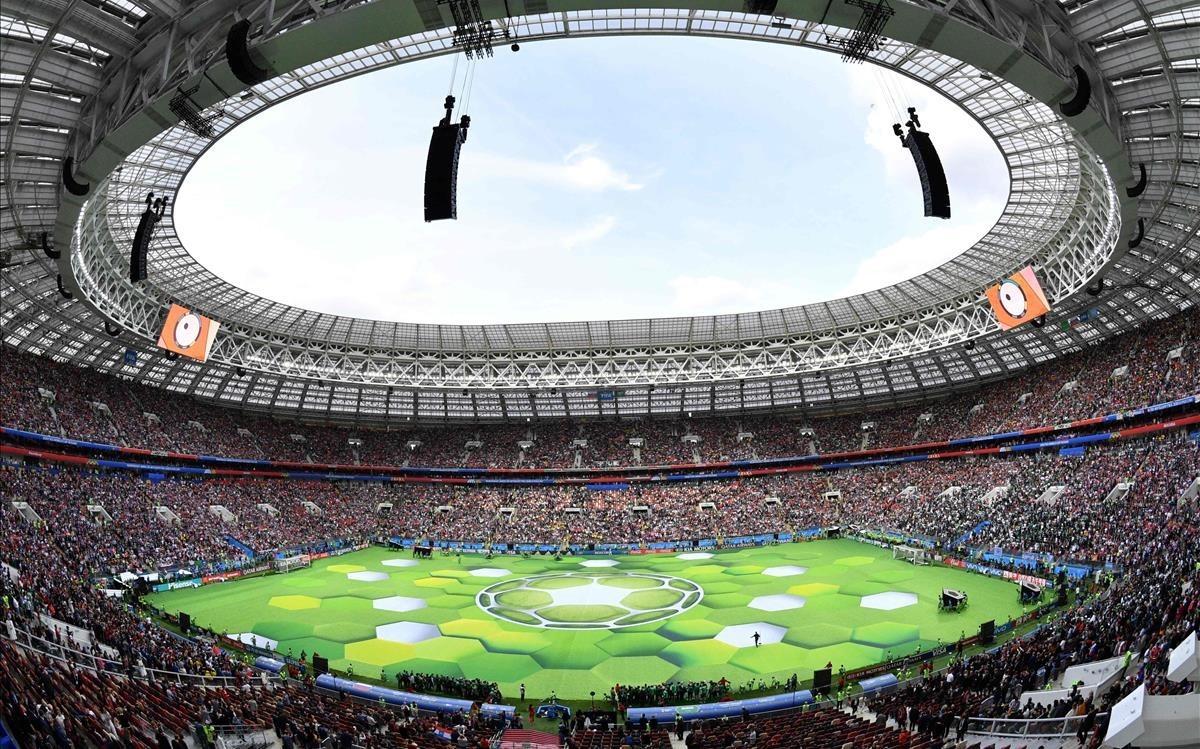 El estadioLuzhniki, en Moscú, en plena fiesta de apertura del Mundial.