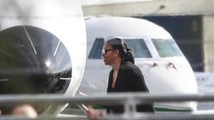 Michelle Obama, en el aeropuerto de Palm Springs, el pasado lunes.