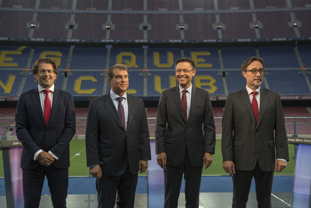 Bartomeu, Laporta, Benedito y Freixa antes del debate en el Camp Nou