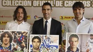 Los exjugadores Puyol, Fernando Sanz y Morientes.
