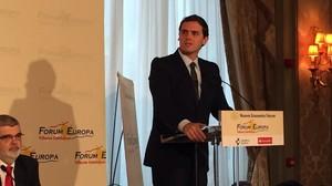 Albert Rivera, candidato de Ciudadanos a la presidencia del Gobierno, en el Foro Europa Tribuna Catalunya.