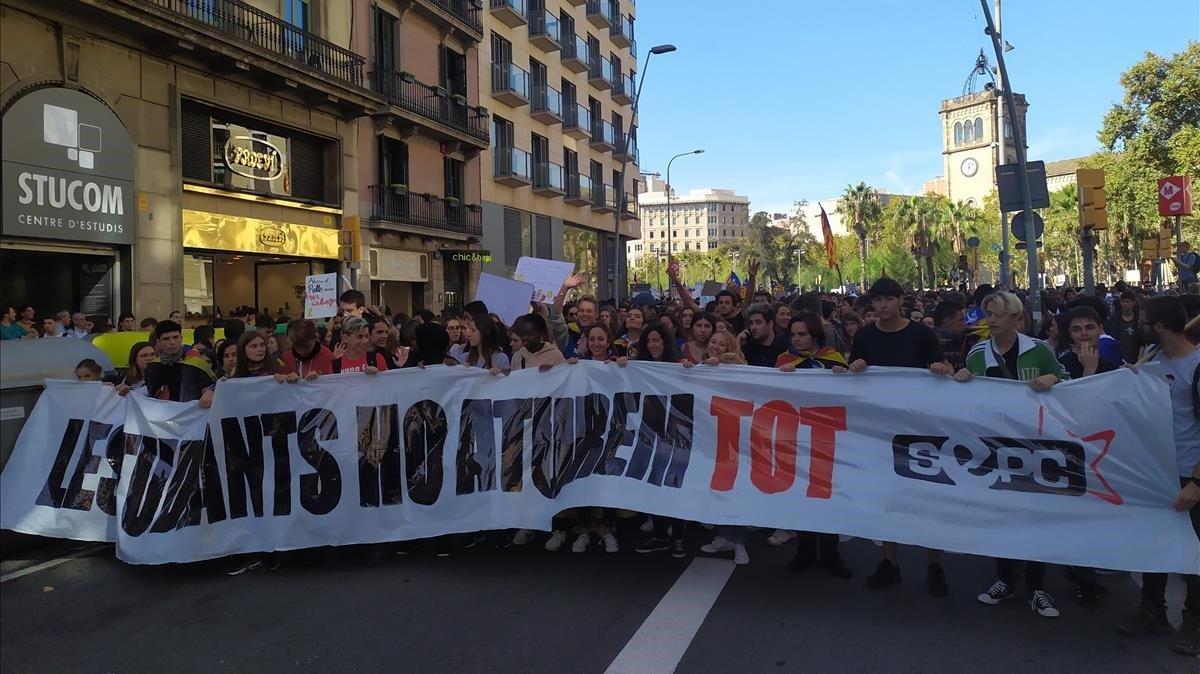 Manifestación de estudiantes en Barcelona, este jueves.