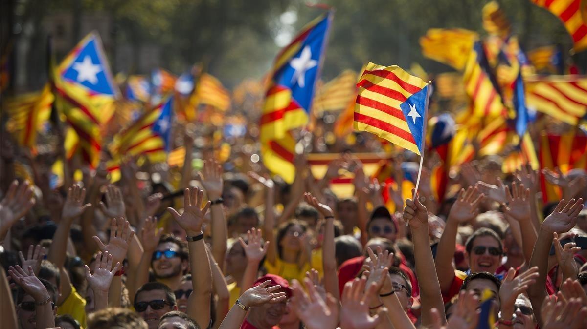 Manifestación independentista en la Gran Via de Barcelona.