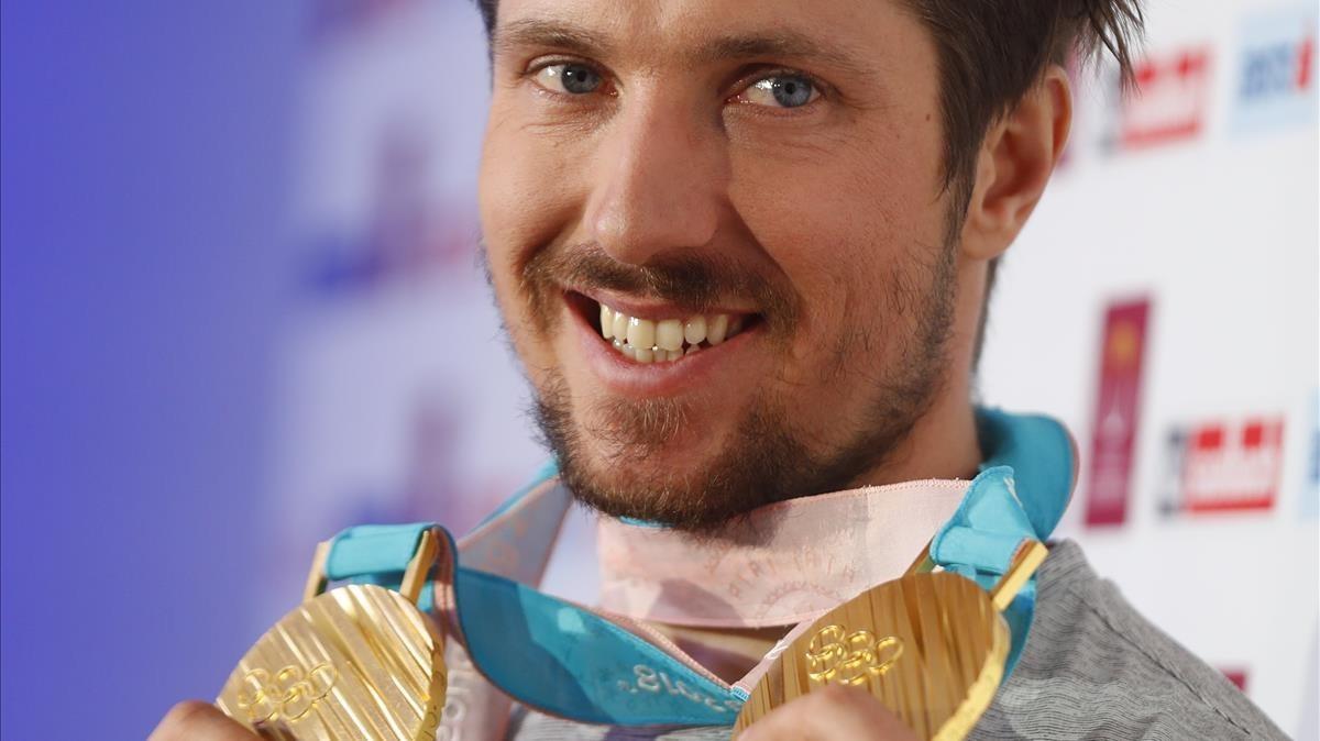 Marcel Hirscher, con los dos oros conquistados ya en los Juegos de Corea.