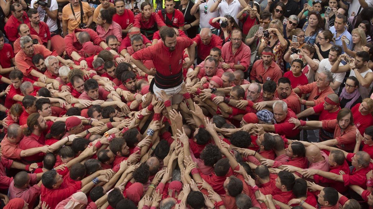 Los Castellers de Barcelona, en acción.