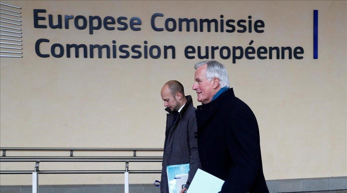 Michel Barnier, a su llegada este lunes a la sede de la Comisión en Bruselas.