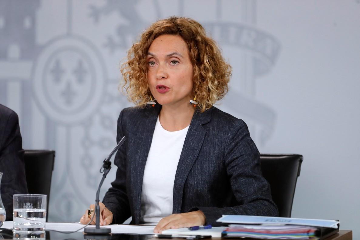 La ministra de Política Territorial y Función Pública, Maritxel Batet, durante la rueda de prensa posterior al Consejo de Ministros del viernes 27 de julio.