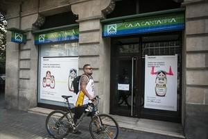 Oficina de Liberbank y Caja Cantabria en la calle de Roger de Llúria de Barcelona.