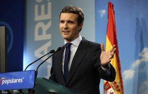 Pablo Casado, el viernes, en rueda de prensa tras conocerse la fecha de las elecciones.