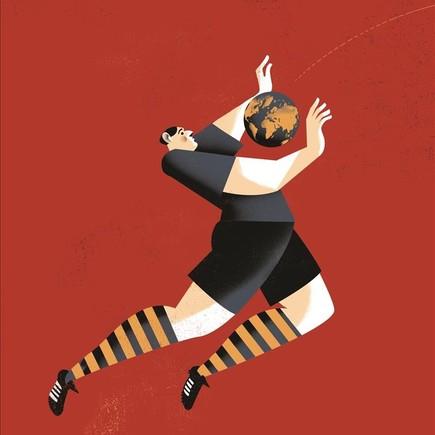Ilustración de Pep Boatella para la portada de 'Atlas de una pasión esférica', de Toni Padilla.