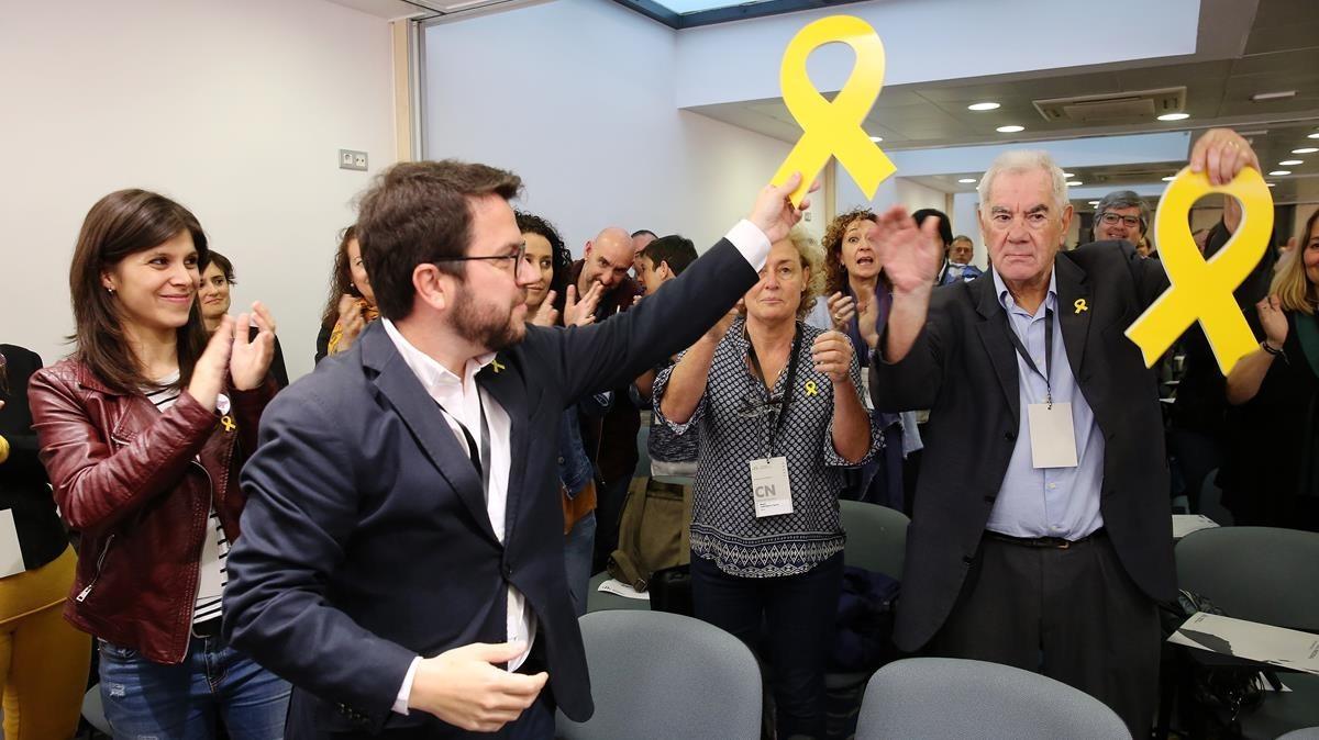 El adjunto a la presidencia de ERC,Pere Aragonès, en el consejo nacional del partido