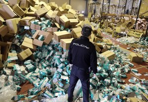 Un policía participa en la redada de material sanitario y mascarillas en Santiago