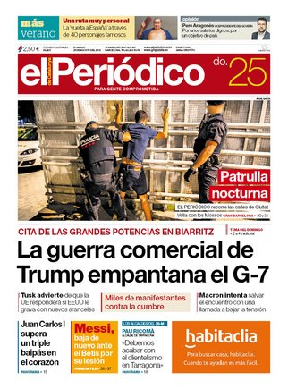 La portada de EL PERIÓDICO del 25 de agosto del 2019