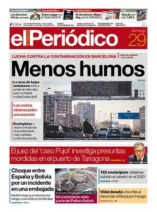 La portada de EL PERIÓDICO del 29 de diciembre del 2019