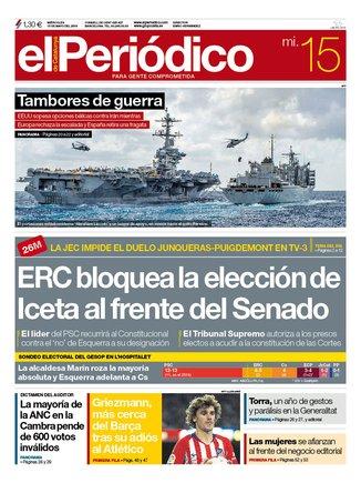 La portada de EL PERIÓDICO del 15 de mayo del 2019