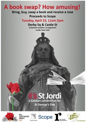 Poster para celebrar el día de Sant Jordi en Liverpool