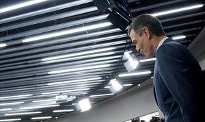 El presidente del Gobierno, Pedro Sánchez, este viernes, durante su comparecencia para anunciar la fecha de las elecciones.