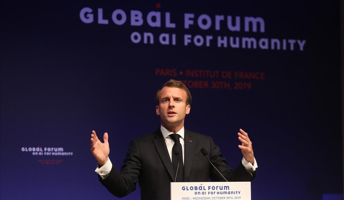 El presidente francés, Emmanuel Macron, durante un discurso en París.