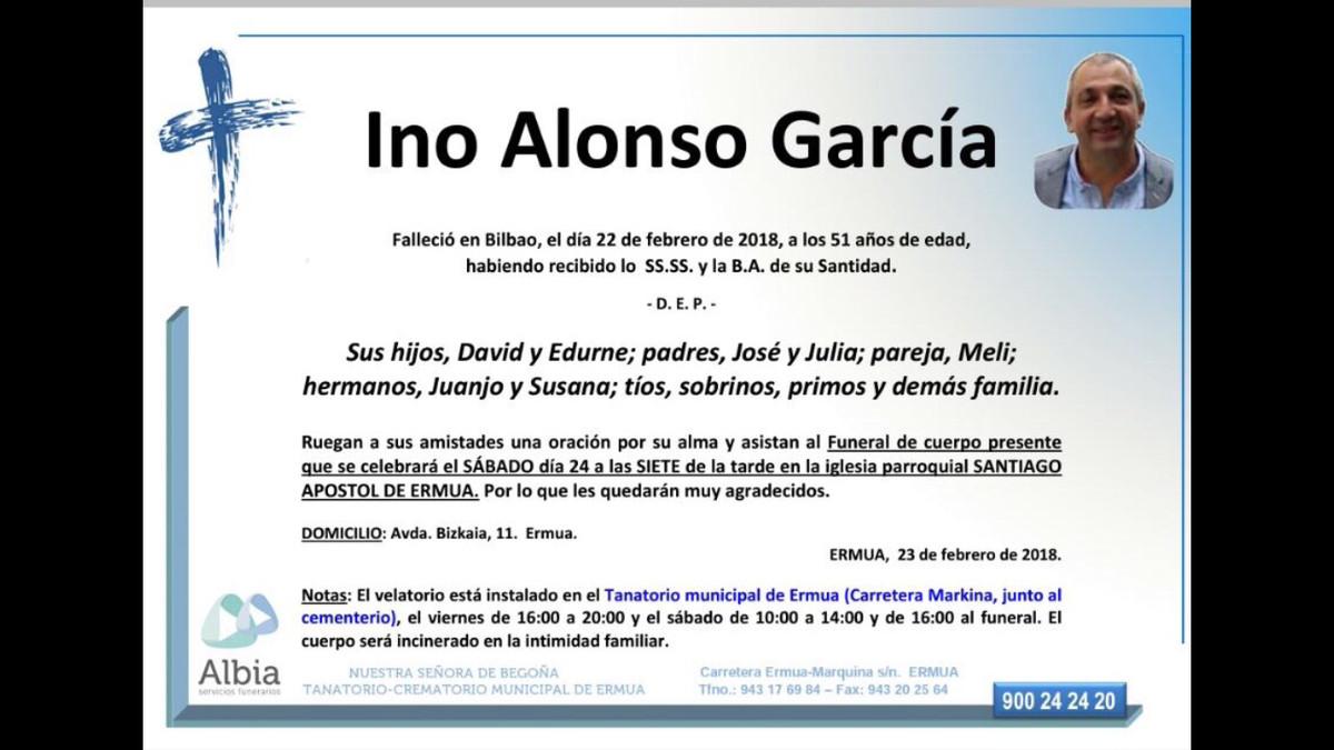 Recordatorio fúnebre del ertzaina Inocencio Alonso.