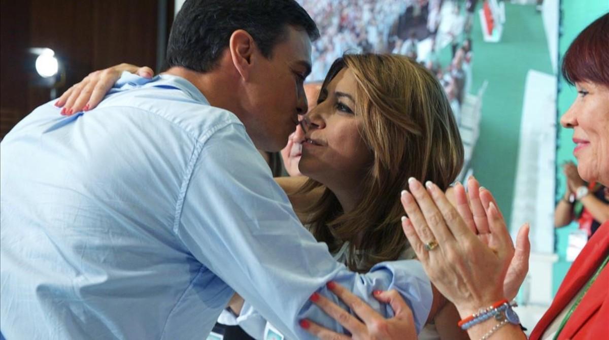 Pedro Sánchez y Susana Díaz, en el congreso del PSOE-A.