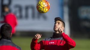Marco Asensio, en un entrenamiento del curso pasado con el Espanyol.