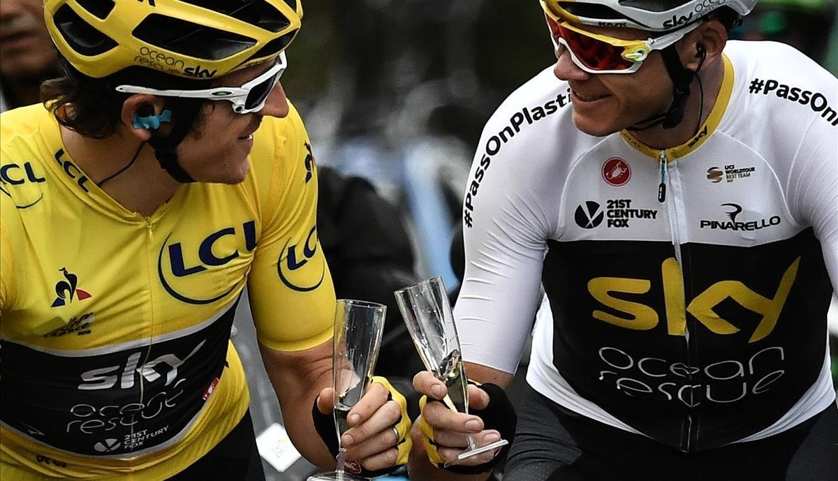 Thomas y Froome, durante la última etapa.