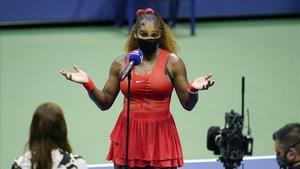 Serena Williams, tras su triunfo en primera ronda del US Open.