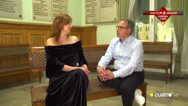 Josep Cuní con ElenaMakárova en Moscú.