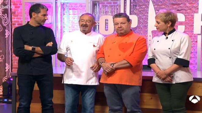 Karlos Arguiñano visitó el concurso Top Chef, de Antena 3 TV.