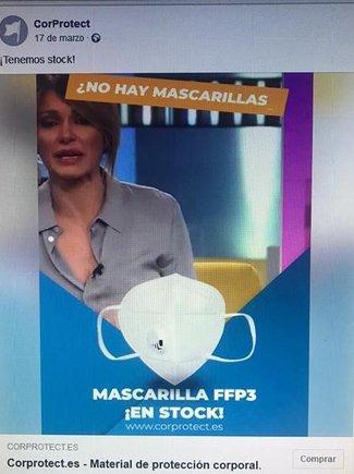 Anuncio con la imagen de Susanna Griso utilizado para vender mascarillas de protección contra el coronavirus.