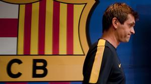 Tito Vilanova, a la sala de premsa del Camp Nou.