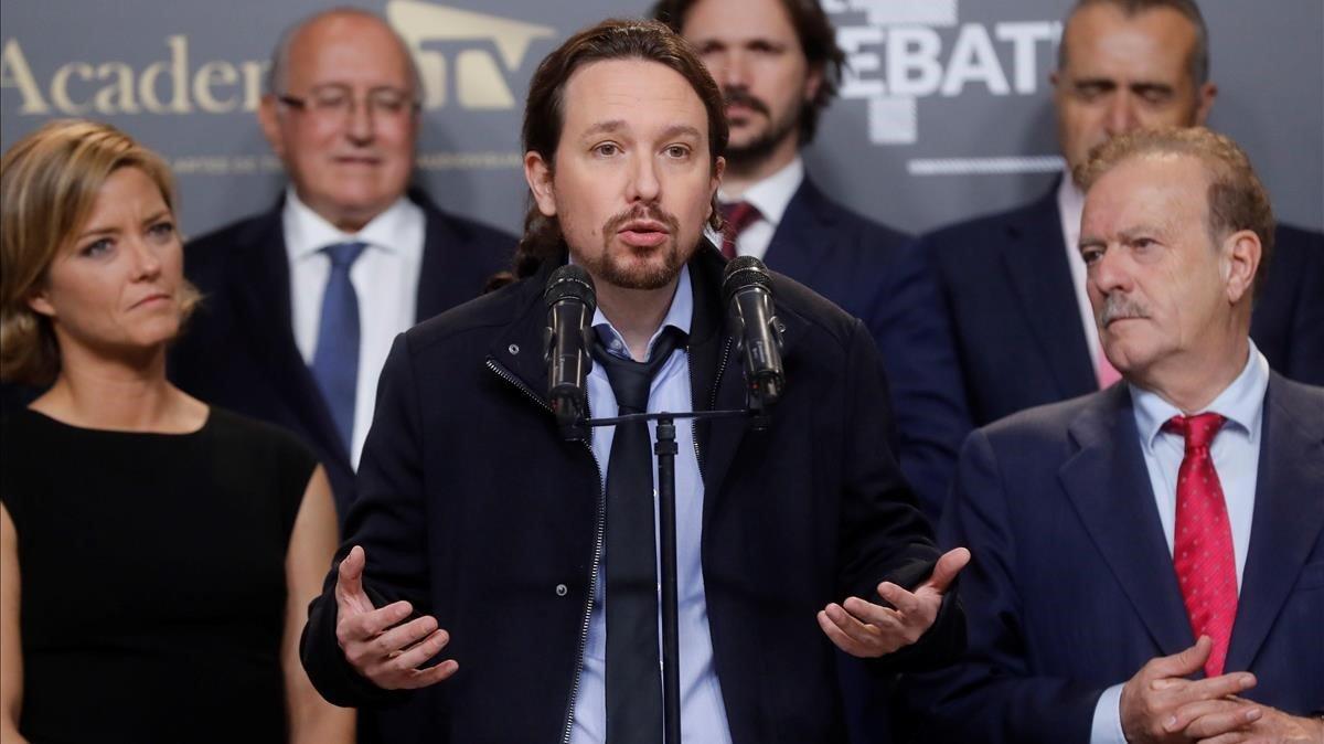 El candidato de Unidas PodemosPablo Iglesiasal finalizar el único debate electoral