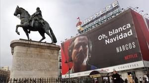 Polémico cartel de Netflix en la Puerta del Sol.