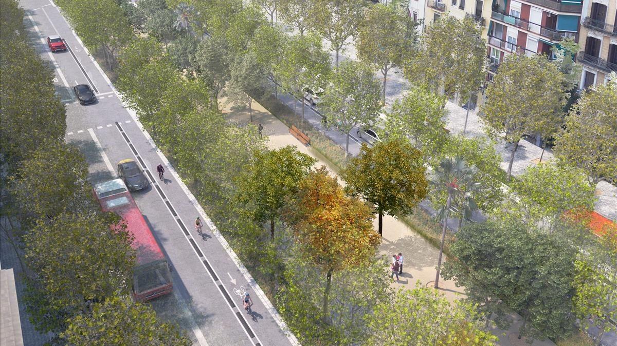 Una imagen virtual de cómo será la Meridiana entre las Glòries y Aragó.