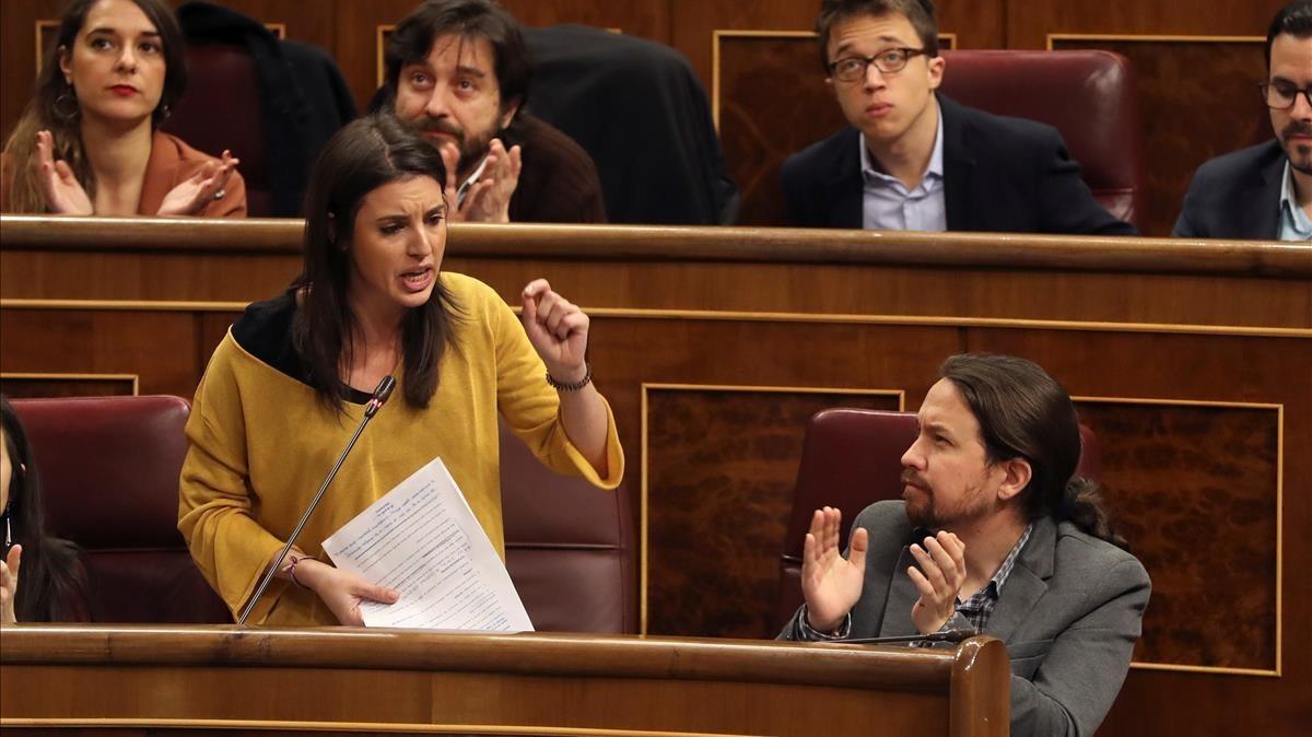 Irene Montero, durante la sesión de control al Gobierno del 7 de febrero.