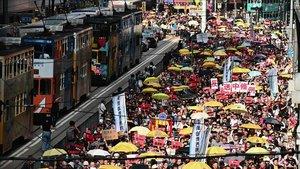 Manifestación en Hong Kong contra las leyes de extradición a China.