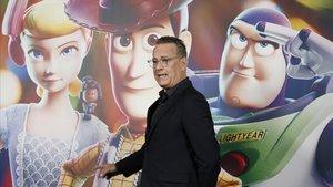 Tom Hanks, hoy en Barcelona, en la presentación de Toy story 4.