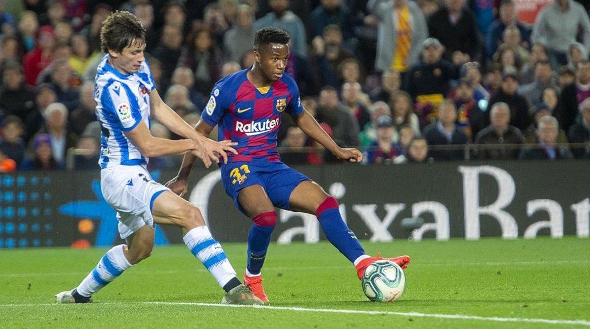 Ansu Fati, durante el partido entre el Barça y la Real Sociedad.